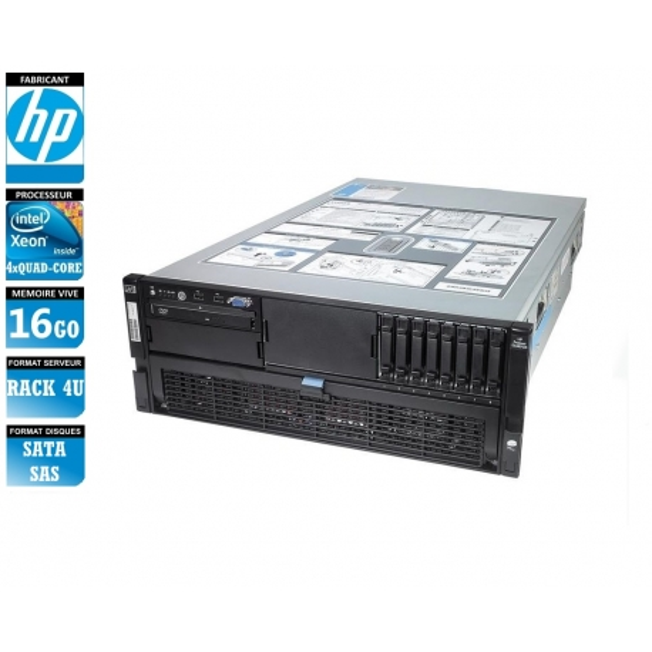SERVEUR HP Proliant DL580 G5 4 x Xeon Quad Core X7350 16 Gigas Rack 4U
